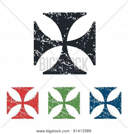 Maltese cross grunge icon set