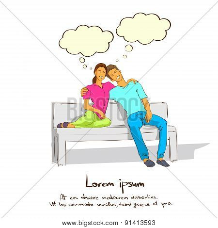 Couple Sitting on Bench Dream Coud With Copy Space