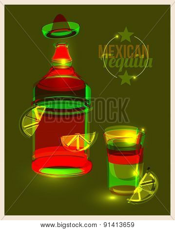 Bottle Of Tequila And Shot With Lime, Abstract Poster. Vector Illustration