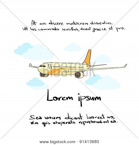 Aircraft Plane Hand Draw Color Icon