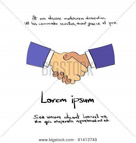 Handshake Logo Hand Draw Color Icon Vector