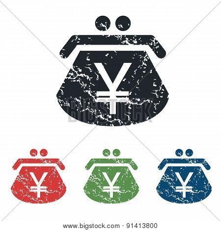 Yen purse grunge icon set