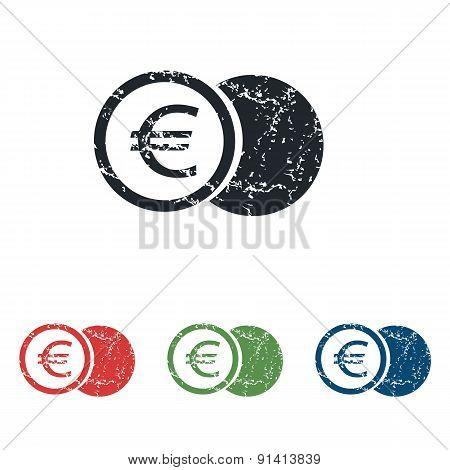 Euro coin grunge icon set