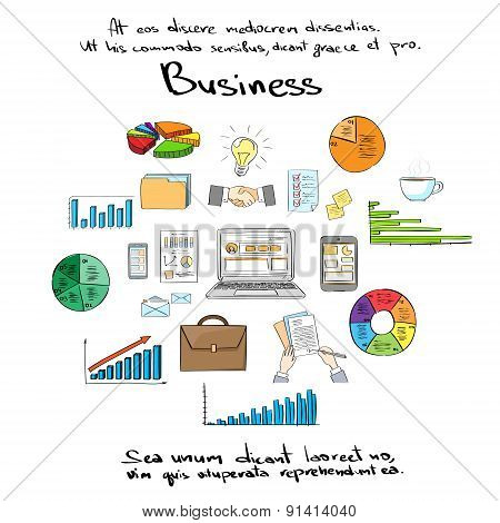 Business Finance Logo Hand Draw Icon Set Collection Vector