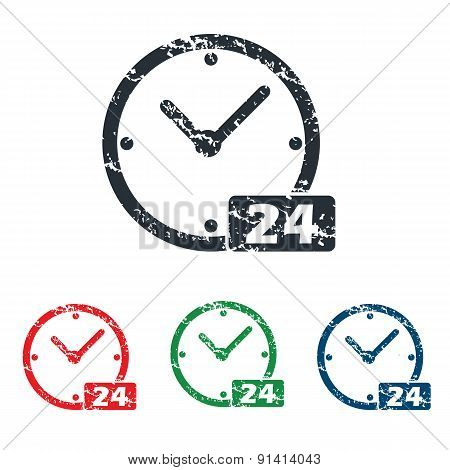 24 workhours grunge icon set