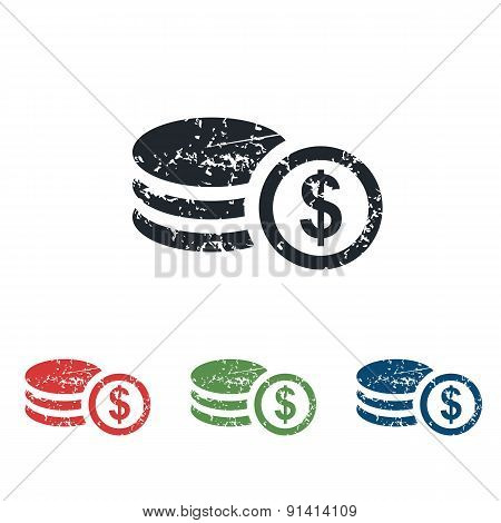 Dollar rouleau grunge icon set