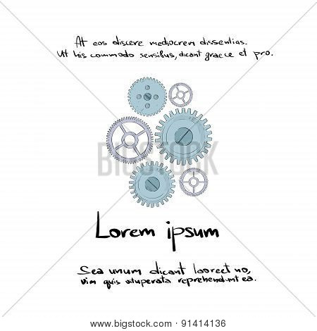 Cog Wheel Set Hand Draw Color Icon Vector