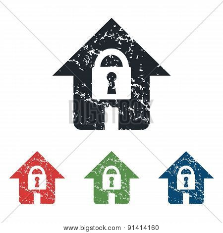 Locked house grunge icon set