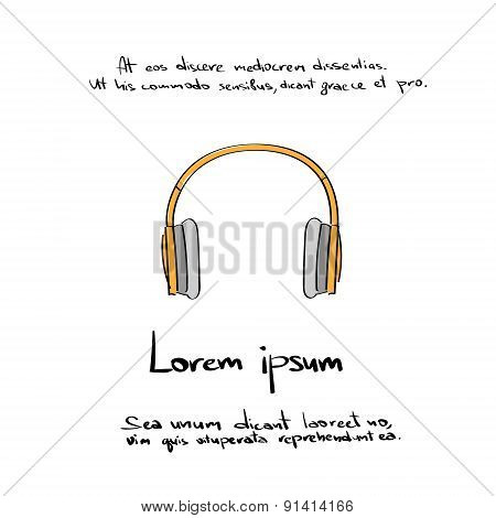 Headphones Hand Draw Color Icon Vector