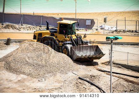 Construction Works On The Dead Sea Beach
