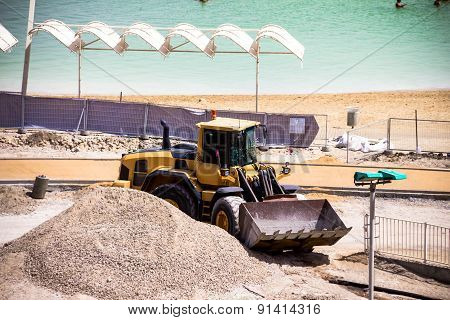 Construction Works On The Dead Sea Hotel  Beach