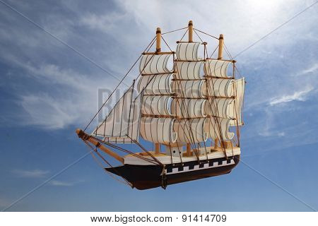 The ship, flying in the sky