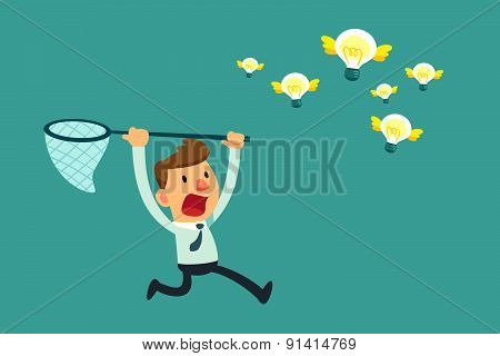 Businessman Try To Catch Flying Idea Bulbs