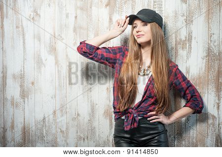 Pretty hipster woman with black hat