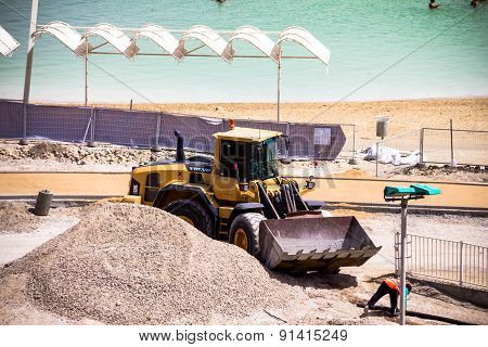 Construction Works On The Dead Sea Hotel  Beach