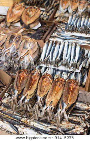 Dried Fish At A Market