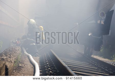 Tanker Train Fire Firefighters