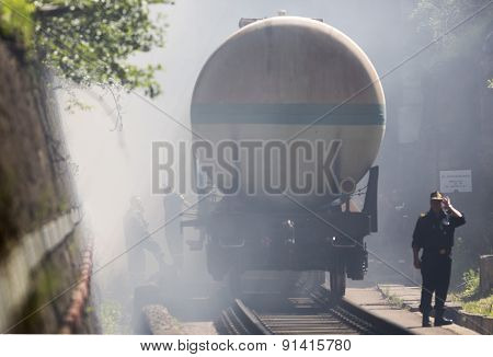 Tanker Train Insmoke Firefighters