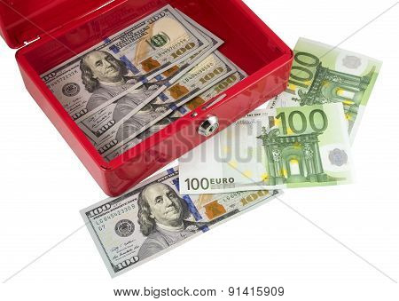 Metallic Red Box With Money
