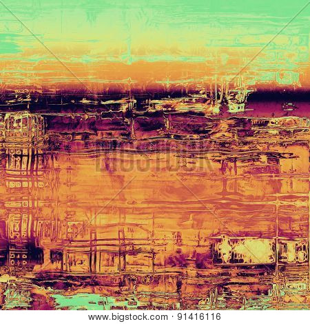 Background with grunge stains. With different color patterns: yellow (beige); brown; purple (violet); green