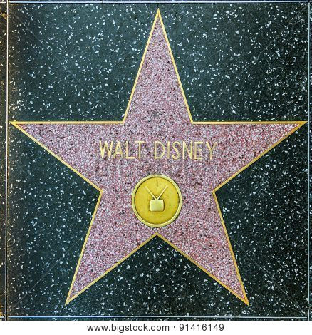 Walt Disney's Star On Hollywood Walk Of Fame