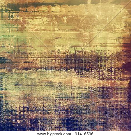 Abstract composition on textured, vintage background with grunge stains. With different color patterns: yellow (beige); brown; gray; purple (violet)