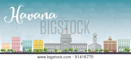 Havana Skyline with Color Building and Blue Sky. Vector Illustration