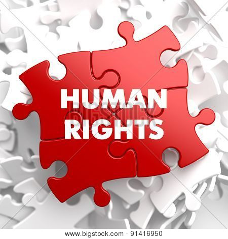 Human Rights on Red Puzzle.