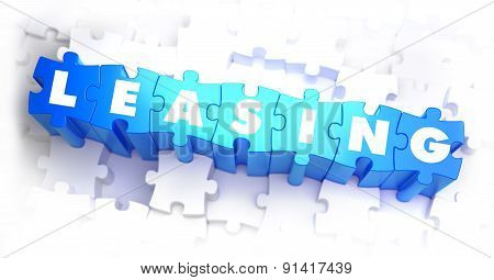 Leasing - Text on Blue Puzzles.