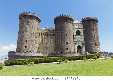 The Medieval Castle Of Maschio Angioino Or Castel Nuovo In Naples