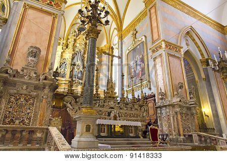 Interiors And Details Of San Gregorio Armeno Church  In Naples, Italy