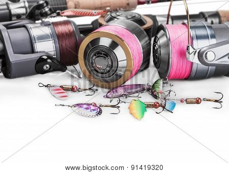 Fishing Tackle Spinning Isolated On Whit