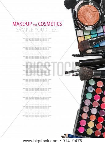 Colorful Make-up And Cosmetics Isolated On A White Background