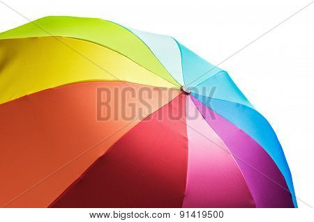 Colorful Rainbow Umbrella Isolated On White