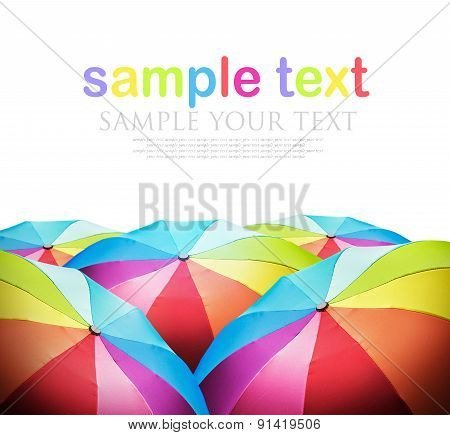Rainbow Umbrellas Isolated On A White Background