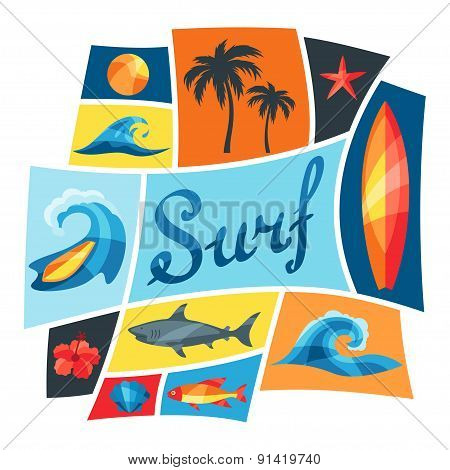 Background with surfing design elements and objects
