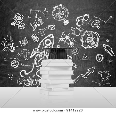 Several Books And A Graduation Hat. A Concept Of The Getting The Degree. Educational Icons Are Drawn