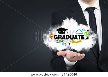 A Student's Hand Is Holding A Cloud With The Educational Icons.
