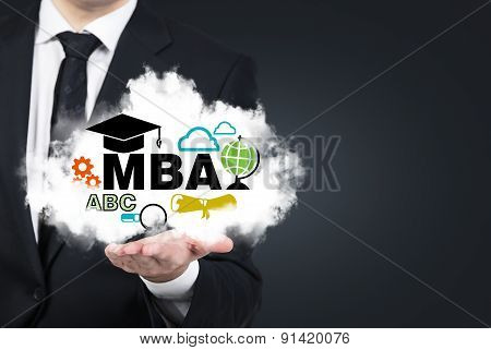 A Student's Hand Is Holding A Cloud With The Educational Icons. A Concept Of The Master's Degree In