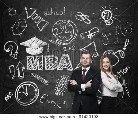 Young Students Are Pondering Over The Business Degree. A Concept Of The Mba Degree. Drawn Educationa