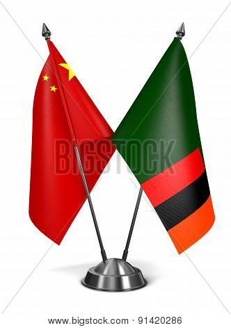 China and Zambia - Miniature Flags.