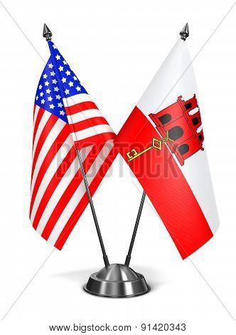 USA and Gibraltar - Miniature Flags.