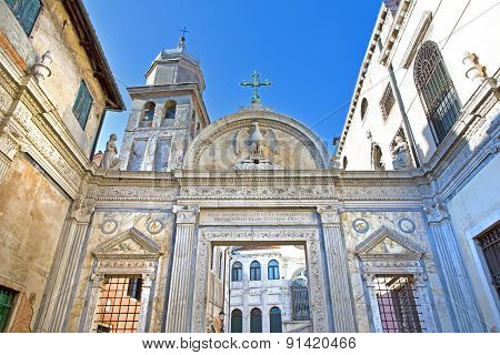 Bell Tower And Gates To Scuola Grande San Giovanni Evangelista In Venice