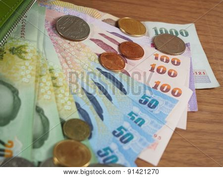 Thai Baht Money, Banknotes And Coins
