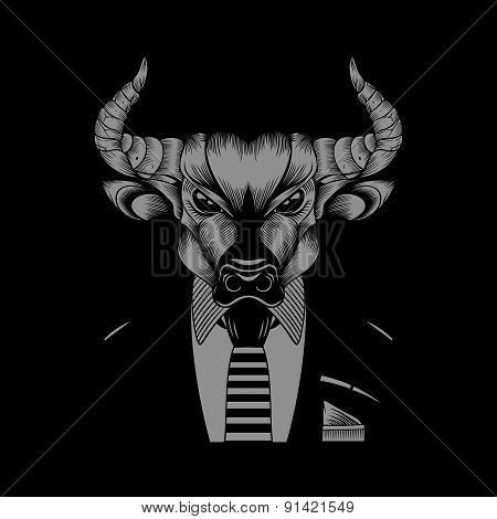 Illustration of bull hipster in a business suit with a tie.