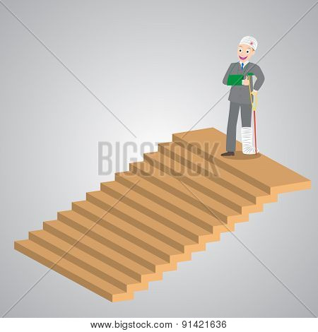 Injured Businessman In Bandages Standing On Top Of Stairs, Vector, Illustration