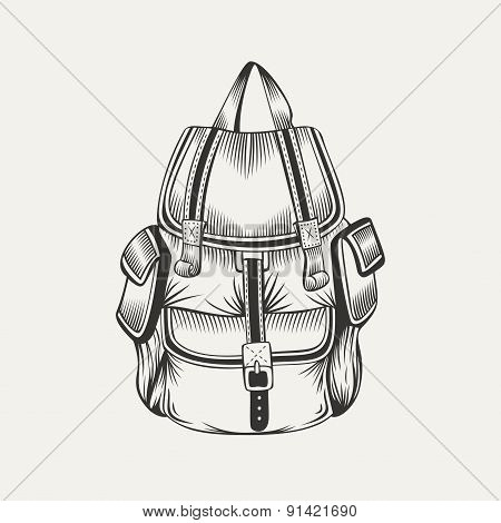 Illustration of hiking backpack.