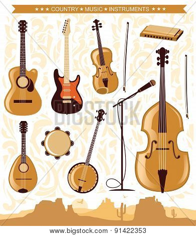 Vector Country Music Instruments For Design