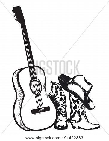 Cowboy Boots And Music Guitar Isolated On White