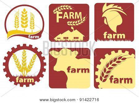 Farm Two-color Icon Set Vector